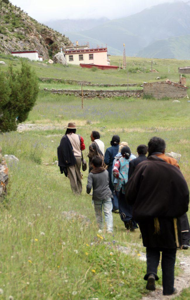 Pilgrims Exploring Zhira Gompa