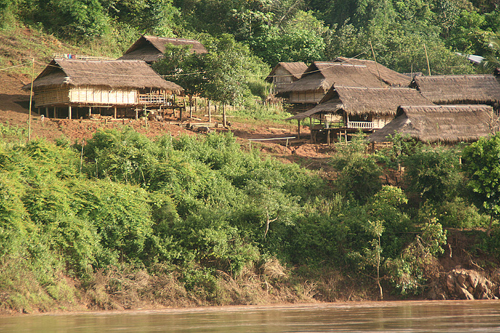 Lao Village On the Banks of the Mekong