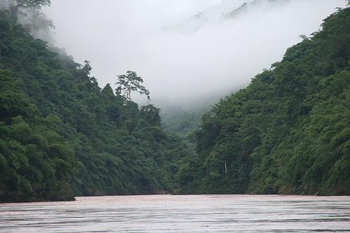 Thailand to China by boat scenery near Guanlei Xishuangbanna