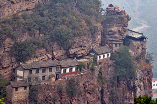 Temples clinging to the rocks Cangyan Shan