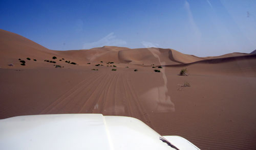 in the jeep The Badain Jaran desert