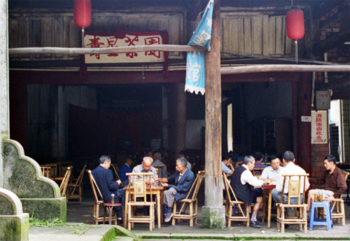 Luocheng boat shaped village locals in the  teahouses
