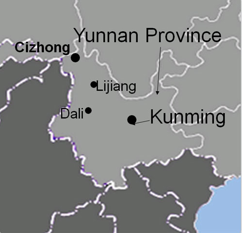 map Cizhong 茨中 Yunnan Mekong Valley church