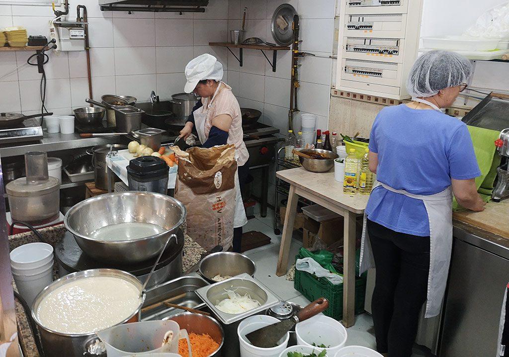 Cooking at THREE LITTLE PIGS RESTAURANT / LOS TRES CERDITO