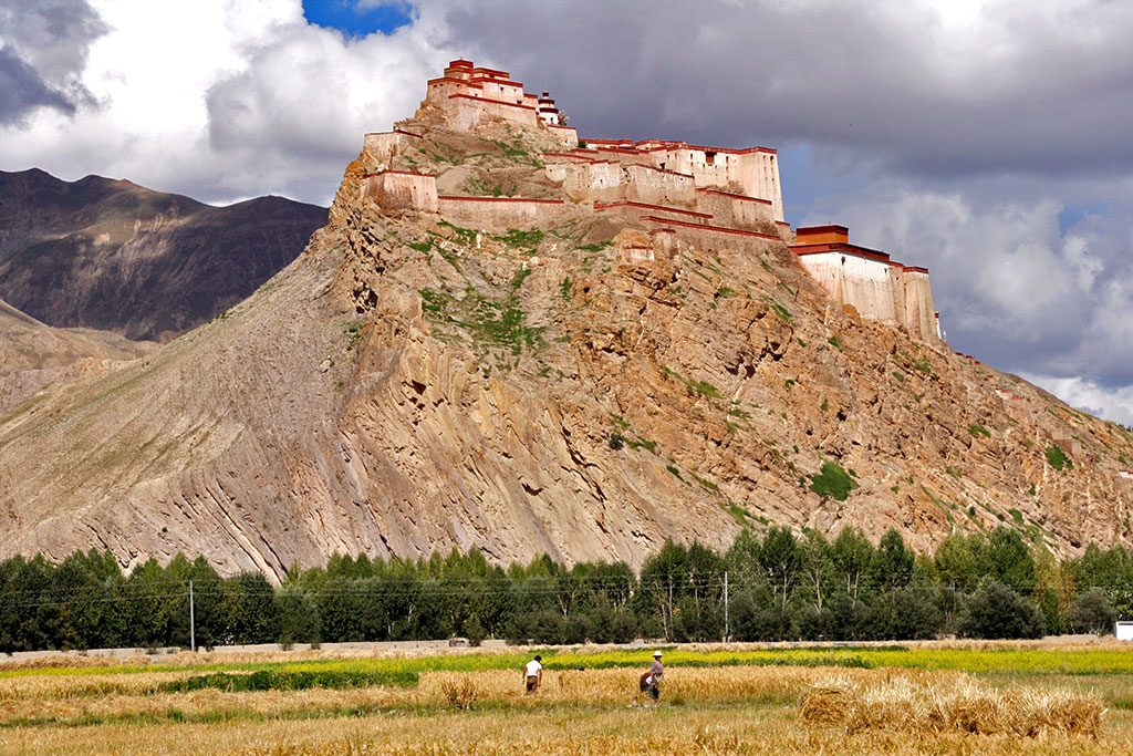 gyantse fort from the fields