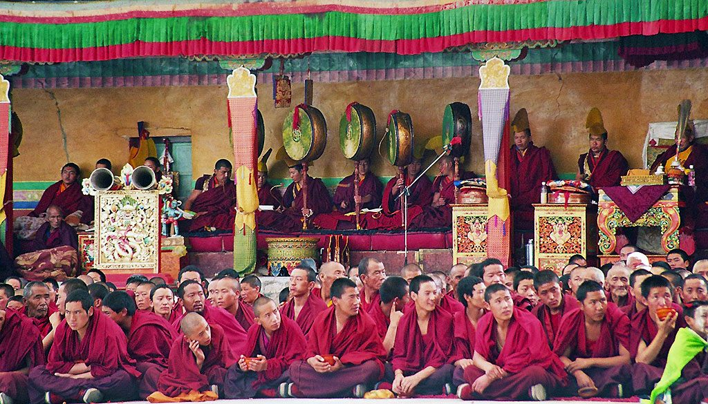 shigatse monks at a festival