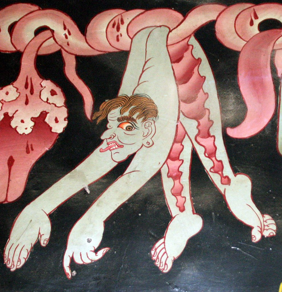 gruesome paintings on the walls of Shalu Monastery 夏鲁寺: Tibet