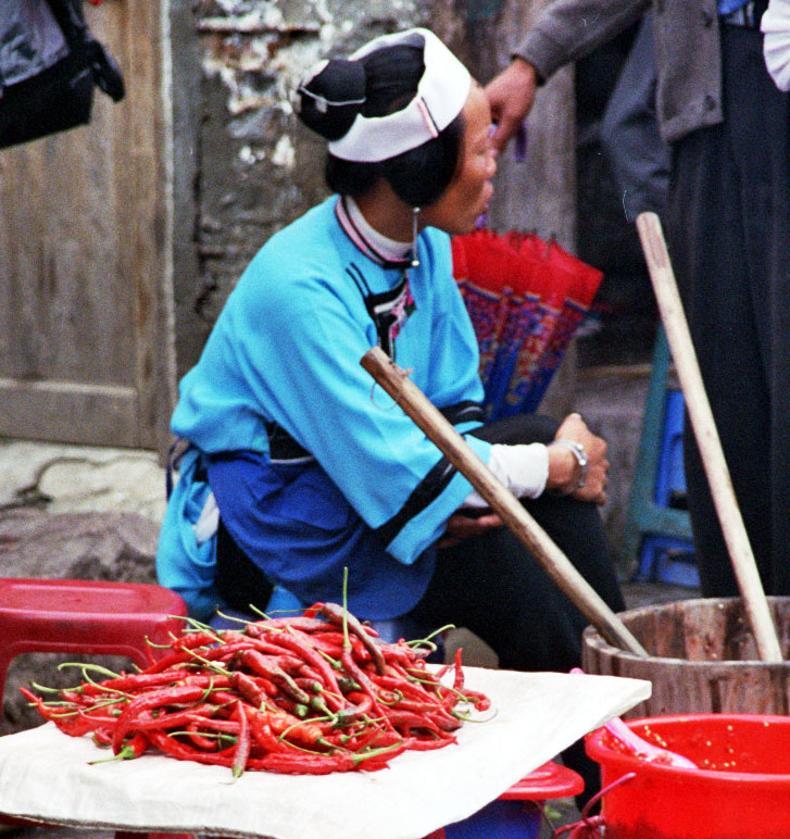 chili seller Anshun Sunday Market: 安顺星期七农民市场