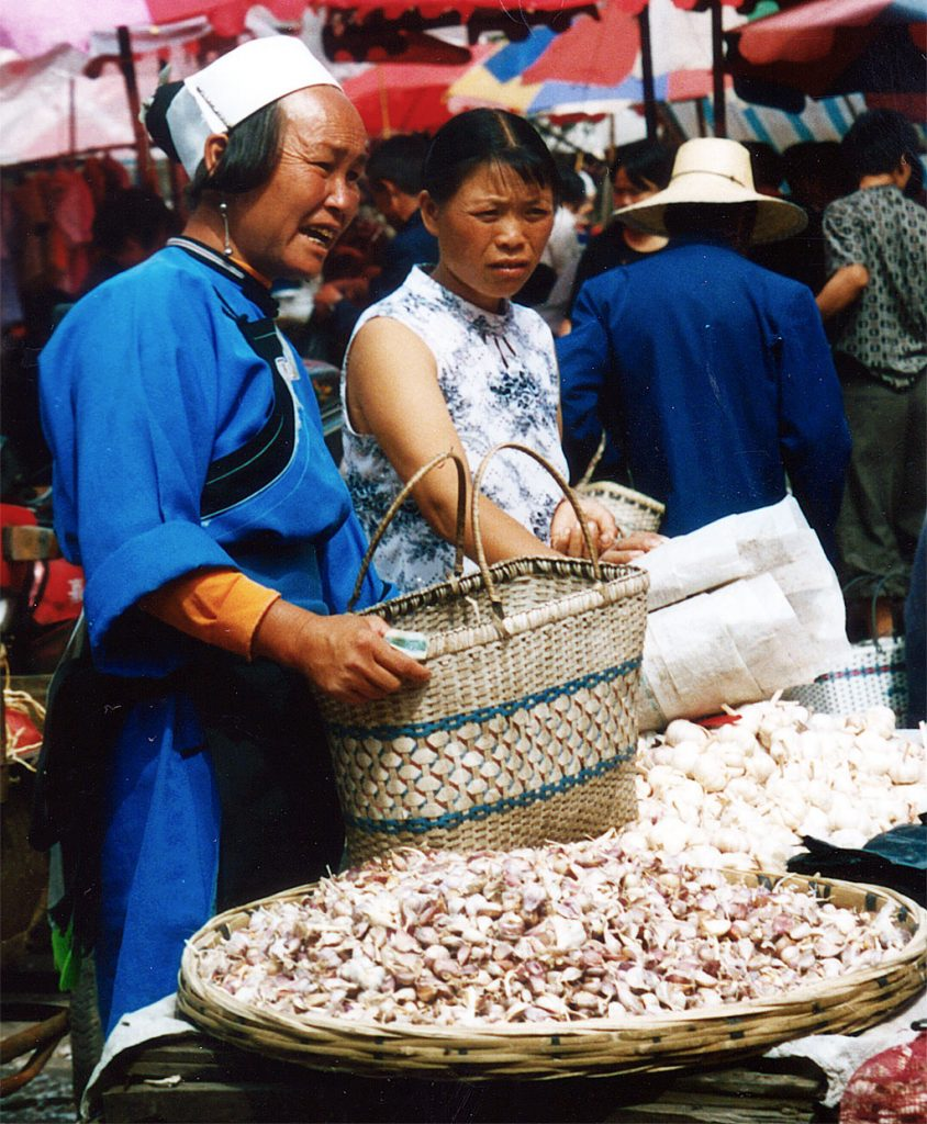 garlic sellers Anshun Sunday Market: 安顺星期七农民市场
