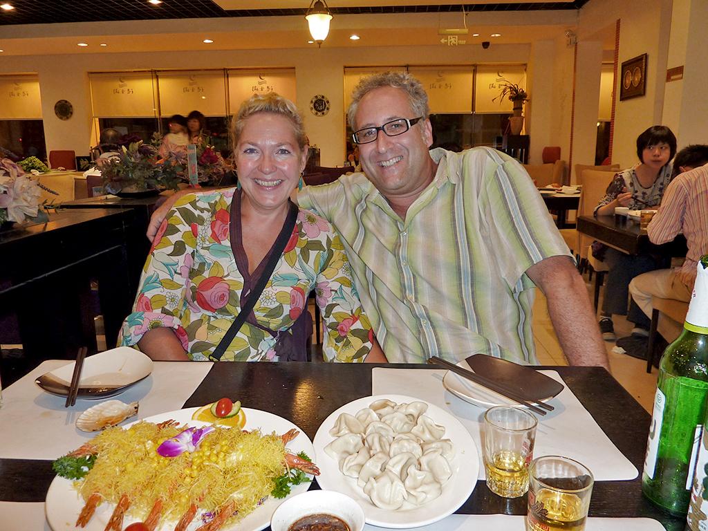Margie and Adam in The Dalian Seafood Restaurant Beijing 2009