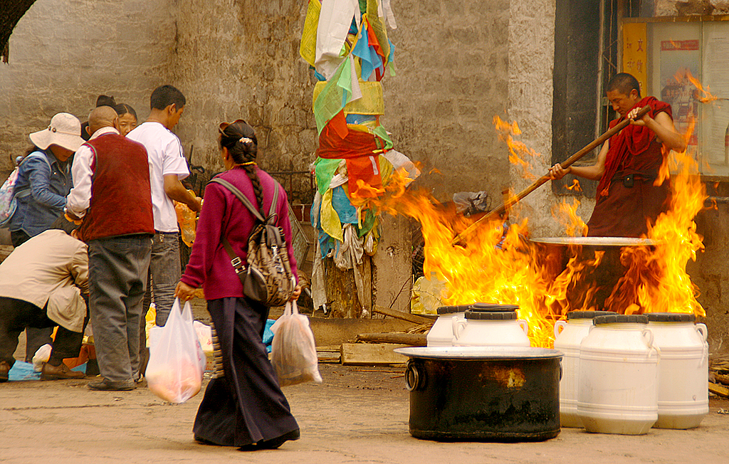 Tibetan monk in flames