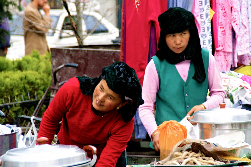 Muslim Hui minority noodle Sellers in Lhasa 卖面条的回族女人在拉萨