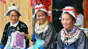 Gejia Minority handicraft sellers in the village of Matang Guizhou