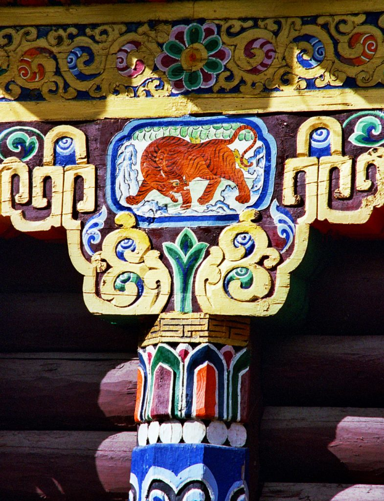 Painted column  Bakong Tibetan Printing Monastery Dege