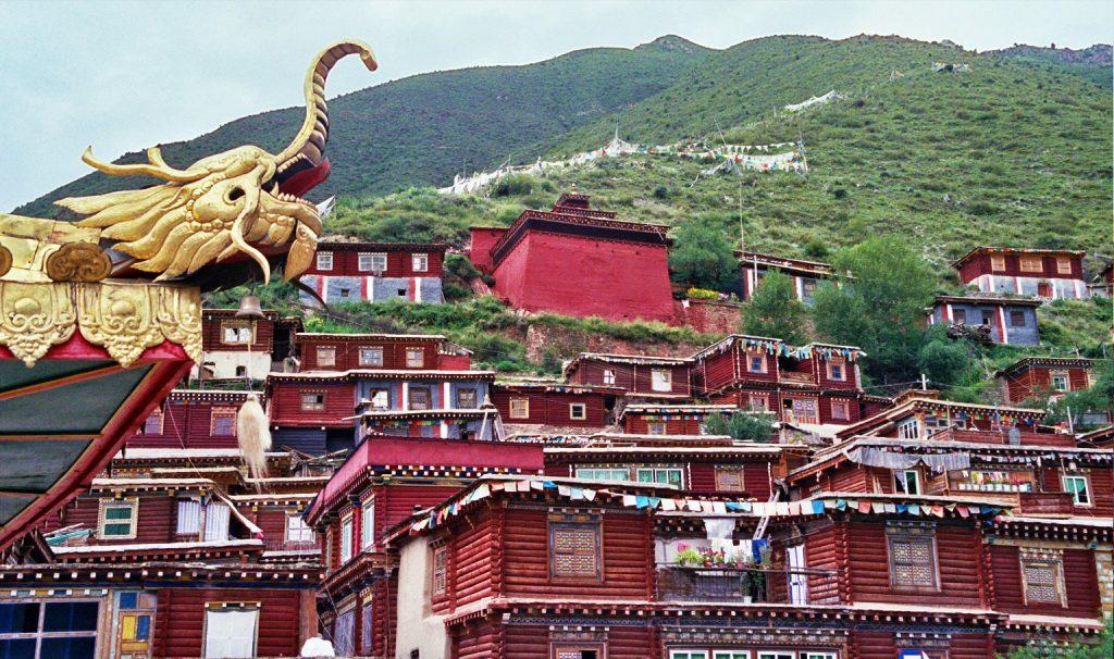 Monks houses Bakong Tibetan Printing Monastery Dege