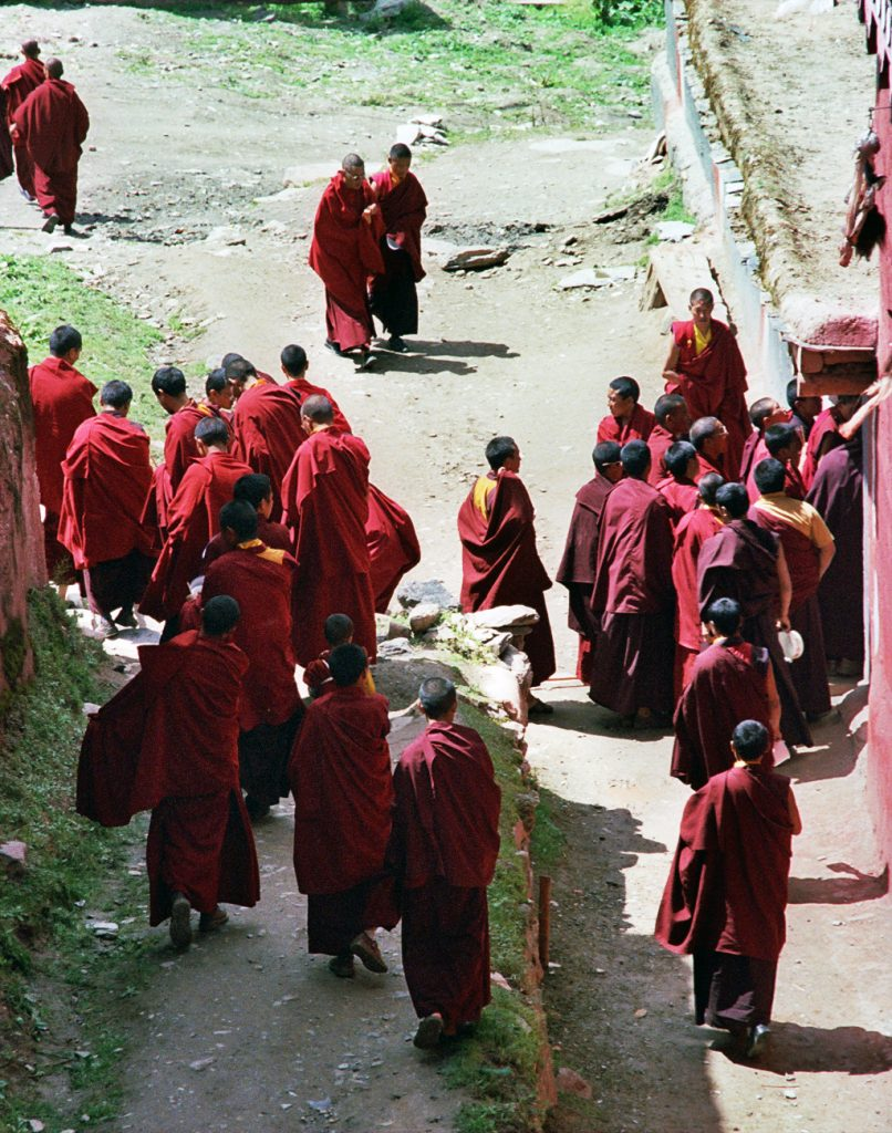 Monks going to their Canteen