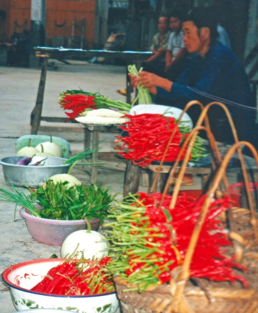 Thunder Mountain chillies on sale in Zhaoxing Guizhou