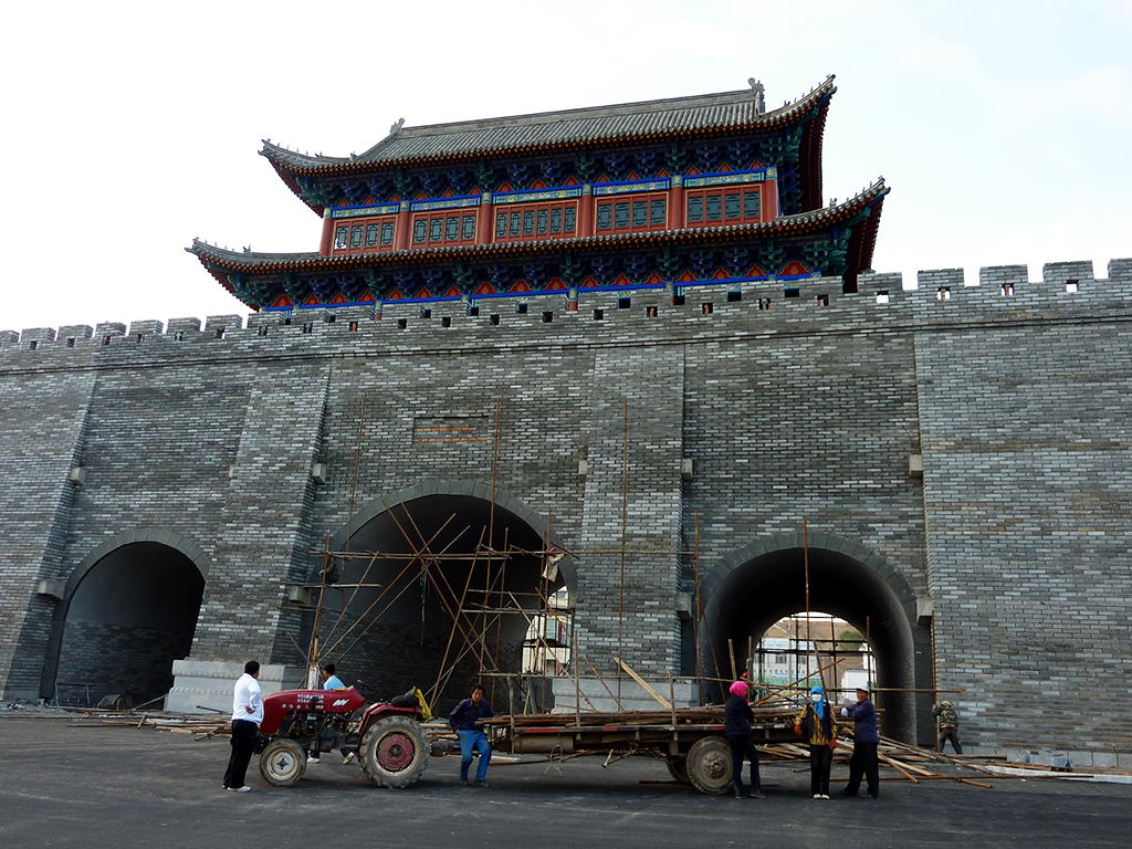 The New Gate surrounding the new old city of Bayonhot Inner Mongolia