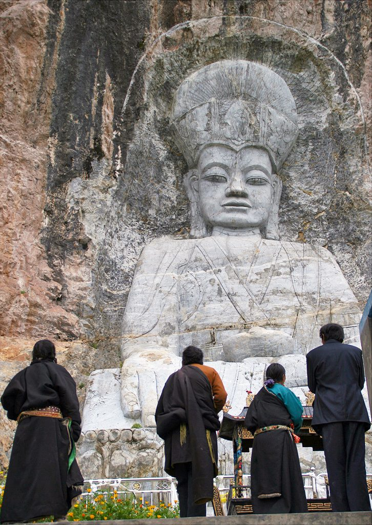 Tibetans Praying Near Yushu Qinghai Province